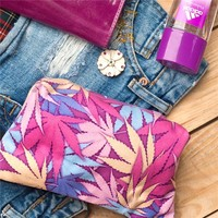 Pink Pot Leaf Makeup Cosmetic Bag with Zipper - CannaCosmetics