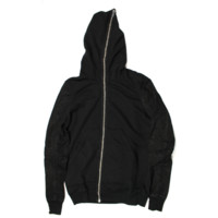 Rick Owens Small Black Cotton Leather Dark Shadow Sweatshirt Jacket with Leather Sleeves