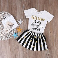 2pcs Short Sleeve Gliter is my Signature Color Romper+Striped Skirt