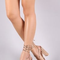 Mirror Metallic Strappy Cage Ankle Lace Up Chunky Heel