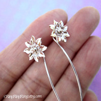 Long stem Clematis flower earrings, sterling silver post stud earrings, Unique gift floral jewelry