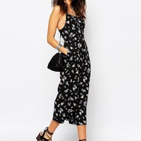 New Look Ditsy Culotte Jumpsuit at asos.com