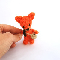 miniature fox stuffed woodland animal little amigurumi fox crocheted wee red fox cuddle little doll orange forest animal collectible animal
