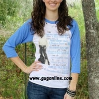George Strait It's a Love Without End, Amen Blue Baseball Tee