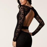 Sexy Laced Open Back Cocktail Dress