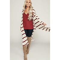 Always Perfect Striped Cardigan (Oatmeal/Burgundy)