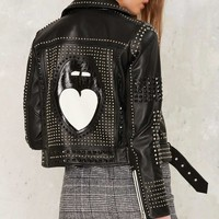 Nasty Gal Mouth Off Leather Moto Jacket