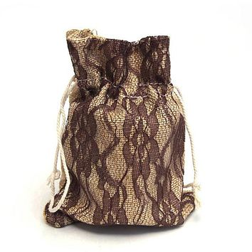 Faux Burlap Bags Lace Overlay, 5-Inch x 6-1/2-Inch, 6-Piece, Brown