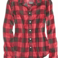 AEO 's Factory Girlfriend Plaid Shirt