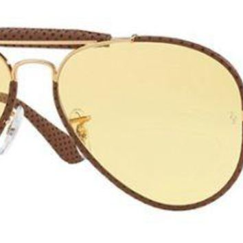 RAY BAN 3422Q 58 90424A LEATHER INSÈRE OR OR JAUNE JAUNE AMBERMATIC CUIR