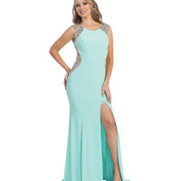 Mint & Nude High Slit Open Back Gown 2015 Prom Dresses
