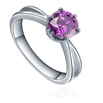 Stainless Steel Round Purple Cubic Zirconia Solitaire Ring