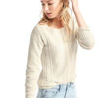 Boatneck cable knit sweater   Gap