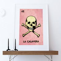 Loteria La Calavera Mexican Retro Illustration Art Print Vintage Giclee on Cotton Canvas and Paper Canvas Poster Wall Decor