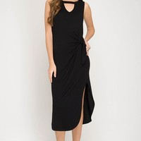 Slub Knit Midi Dress with Side Tie & Keyhole Neck - Black