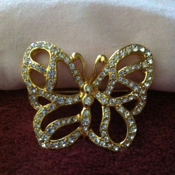 Vintage Gold Tone and White Rhinestone Butterfly Brooch Pin, Wedding Gift, Summer Gift, Birthday Gift, Butterfly Pin, Bridesmaid Gift