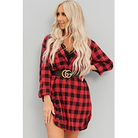 True Beginnings Plaid Button Up Tunic (Red)