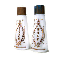Vintage Religious Salt and Pepper Shakers Milk Glass with Gold Grace Prayer 1950's