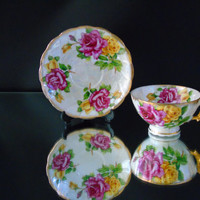 Gilded Lusterware Iridescent China Cup & Saucer Vintage Floral Teacup Ucagco Ceramics Japan