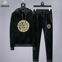 Versace New fashion embroidery human head velvet hooded long sleeve sweater and pants two piece suit Black