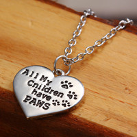 """Pendant Heart Necklace """"All My Children Have Paws"""" Pet Lover Dog Paw Print Silver"""