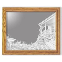 """""""Afternoon Hideaway"""" Country Etched Glass Art Mirrors"""