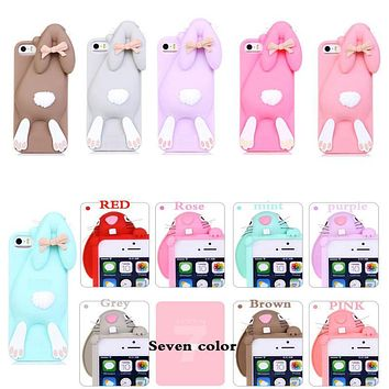 """Cartoon 3D Soft Cute Silicone Rabbit Bunny Case For iPhone 7 5 5S SE 4 4S 6 6S 7 Plus 4.7"""" 5.5"""" Lovely Rabito Phone Back Cover"""