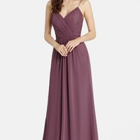Women's Jim Hjelm Occasions 'Luminescent' Draped V-Neck A-Line Chiffon Gown,