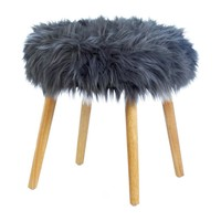 GREY FAUX FUR STOOL