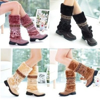 Women Lace Up Fur Lined Winter Warm Flat Knee High Snow Boots Lady Ski Snow Shoe = 1931982788