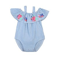 born Baby Girls Roses Striped Romper Off Shoulder Jumpsuit Outfit Clothes