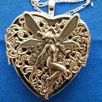 Fairy Antiqued Silver plated Heart Music Box Locket with Sterling Silver Necklace  - Choose your song