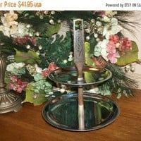 Tiered Serving Tray by Kromex Vintage 1960's Chrome Table Accessory Holiday Entertaining Serving Tiers FREE SHIPPING