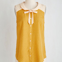 Mid-length Sleeveless Fashionably Elate Top in Goldenrod