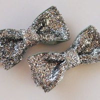 Silver Hairbows, Sparkly Bows, Glitter Miniature Tuxedo Bows, Dance Recital, Christmas, 2 Inch, Set of 2, Glittery, Mini Bow