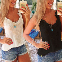 Summer Cotton Slim Lace Mosaic Camisole Bottoming Shirt [4920348548]