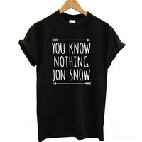 Casual Cotton Clothing Womens Short Sleeve T Shirt You Know Nothing Jon Snow Top Tees Games of Thrones T-shirts 1Piece