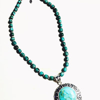 Turquoise Stone Pendant - Sterling Silver Necklace - Southwestern Style Necklace - Barse Necklace - Vintage Necklace - Turquoise Pednant