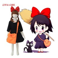 Liva girl Kiki's Delivery Service Kiki Cosplay Dress Party Cos Costume Full Set Dress+Headwear+Bag