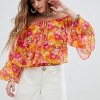 Sacred Hawk Tie Neck Smock Top In Floral at asos.com