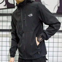 THE NORTH FACE Fashion New Letter Print Men Hooded Long Sleeve Top Jacket Coat Black