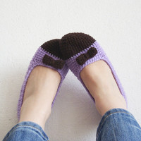 Brown lavender crocheted house shoes, house slippers, women slippers