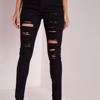 Missguided - Brigitte High Waisted Extreme Ripped Skinny Jeans Black