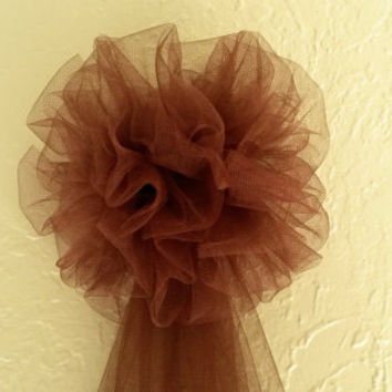Chocolate Brown Fall Tulle Pew Bow, Fall Pew Bow, Pom Tulle Pew Bow,  Fall Wedding Decor, Wreath Stair Door Mailbox Church Decoration