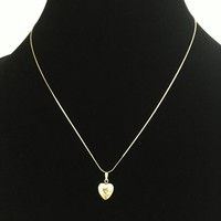 "14K GF Heart Locket Necklace Vintage 1950s 1960s 17"" Fine Surpentine Chain 14 Karat Gold Filled Signed TK"