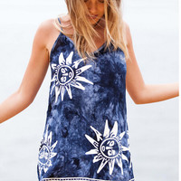 Spaghetti Strap Sun Print Backless Beach Dress