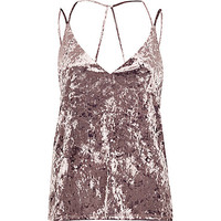 Light purple velvet strappy cami top