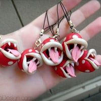 Piranha Plant Nintendo Super Mario, Charm with Phone Strap, Geek Ornament, Polymer Clay