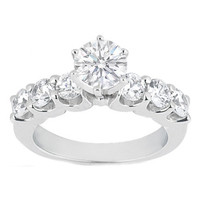 Engagement Ring - Round Diamond Engagement Ring Setting with six side stones 0.3 tcw. In 14K White Gold - BS1-1