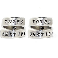 TOTES BESTIES Totally Best Friends Ring Set, BFF Matching Ring, Personalized Hand Stamped  Friend Gift RIngs, Friend Besties Sisters Jewelry
